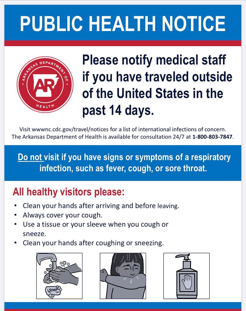 Arkansas Dept Of Health COVID-19 Public Health Notice ...